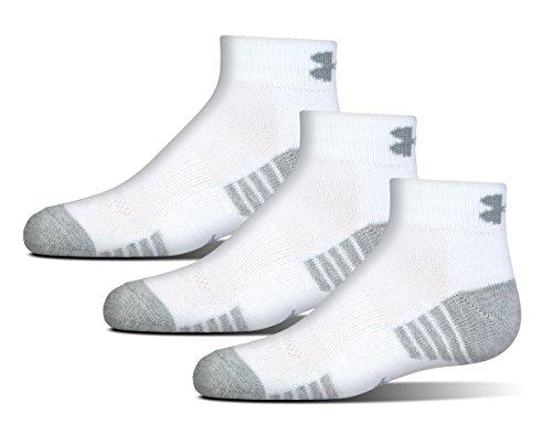 Under Armour Boys HeatGear Tech Lo Cut Socks, White, Youth Large