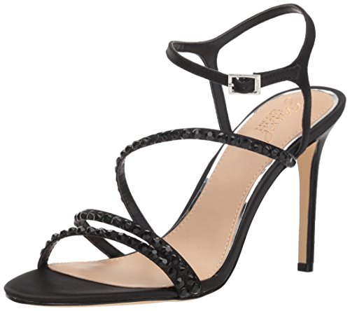 Badgley Mischka Jewel Women's Marimba Heeled Sandal, Black Satin, 6.5 M US