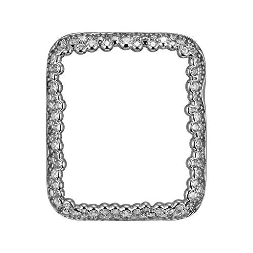 (.925 Sterling Silver & Rhodium Plated Champagne Bubbles Jewelry-Style Apple Watch Case with Cubic Zirconia CZ Border - Small (Fits 38mm iWatch))