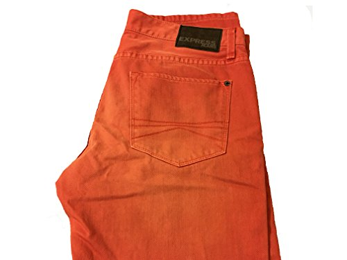 EXPRESS JEANS Rocco Slim Fit Skinny Leg 32x30 Orange Faded Washed