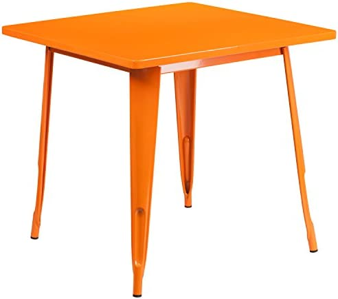 Flash Furniture Commercial Grade 31.5″ Square Orange Metal Indoor-Outdoor Table