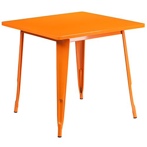 Flash Furniture 31.5 Square Orange Metal Indoor-Outdoor Table