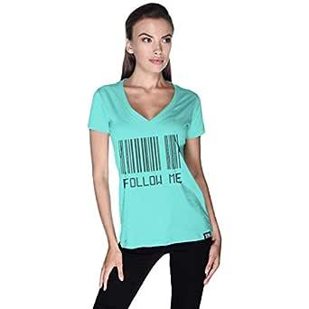Creo Green Cotton V Neck T-Shirt For Women