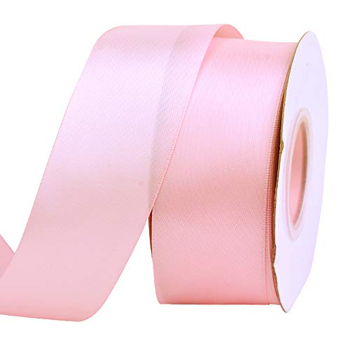 Ribest 1-1/2 inch 25 Yards Solid Double Face Satin Ribbon Per Roll for DIY Hair Accessories Scrapbooking Gift Packaging Party Decoration Wedding Flowers Light Pink