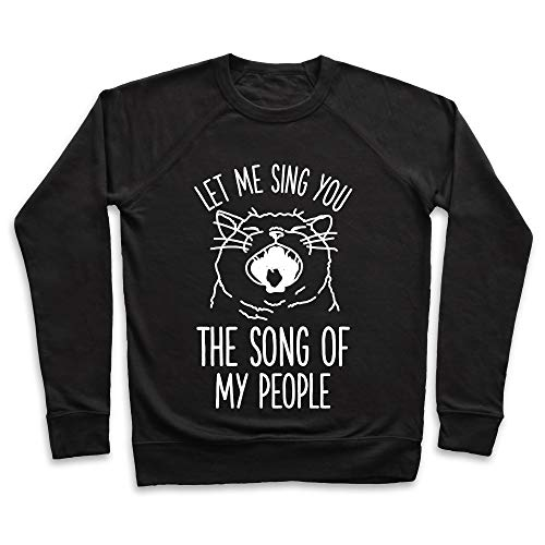 LookHUMAN The Song of My People Cat XL Black Unisex Crewneck Sweatshirt ()