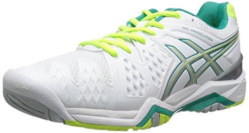 ASICS Women's GEL-Resolution® 6 White/Emerald Green/Silver 10 B - Medium