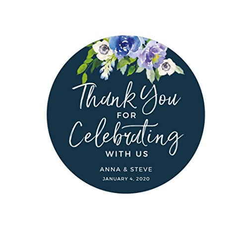Andaz Press Navy Blue Hydrangea Floral Garden Party Wedding Collection, Personalized Round Circle Label Stickers, Thank You for Celebrating With Us, 40-Pack, Custom (Personalized Custom Stationery Stationary)