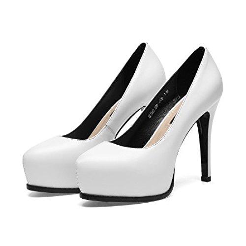 Chaussures Plate Hauts Femmes Pour Mariée Profondes à De Mariage Pointues Chaussures De Cuir Peu forme Soirée En Pompes White Shoes Talons Court rq0IrU