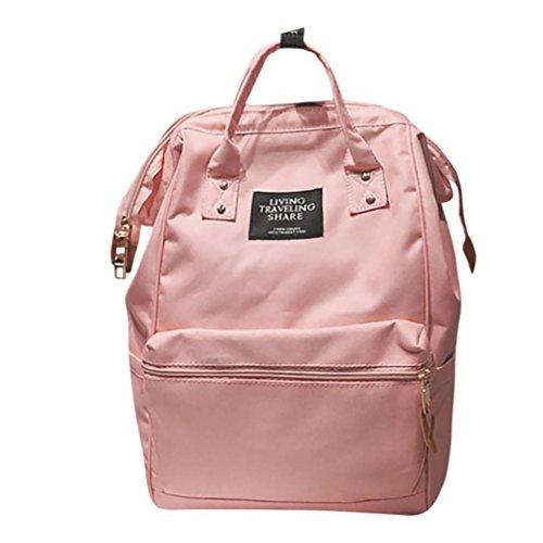 Woshishei Unisex Solid Backpack School Travel Bag 7 colors Double Shoulder Bag Campus Zipper Bag (Pink)