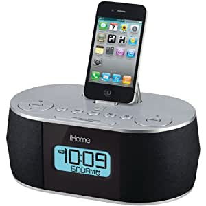 fm radio iphone ihome stereo system with dual alarm fm clock 10629