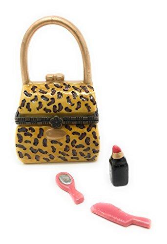 Porcelain Leopard Handbag Purse Trinket Box with Tiny Trinket Inside, 3.25 Inches Tall