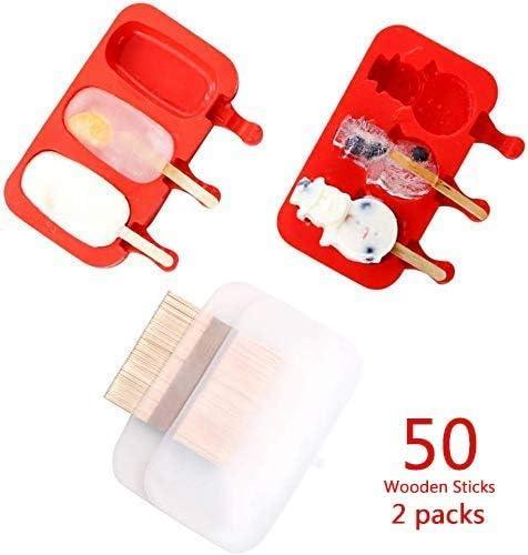 Moldes de silicona para paletas con tapa, molde para helado con 50 ...
