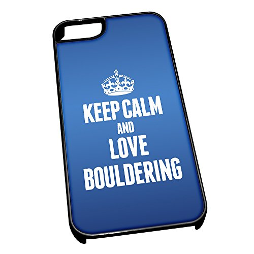 Nero cover per iPhone 5/5S, blu 1709 Keep Calm and Love bouldering