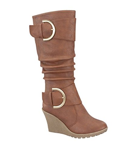 in Brown Gray Boots High Dual Black Knee Tan Tan Women's Buckle Wedge xUaHwS7qY
