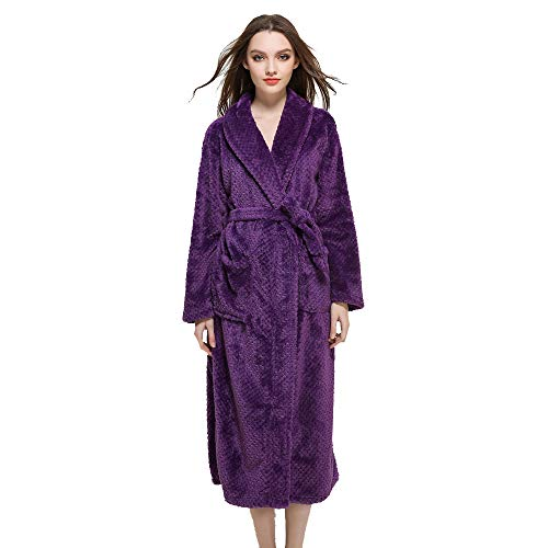 Byyong Women Robe Coat, Winter Lengthened Coralline Plush Shawl Bathrobe Long Sleeve loose Robe Coat(S, Purple)