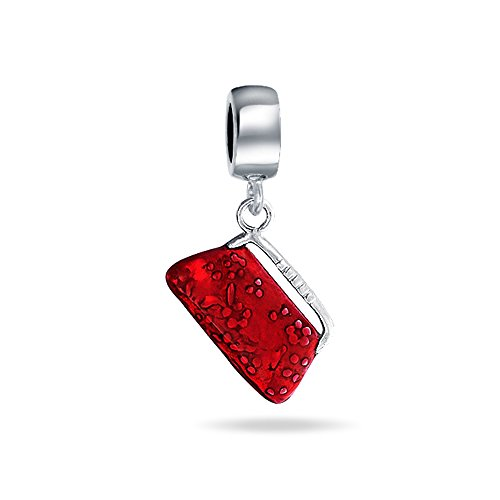 Dangle Red Clutch Purse Pocketbook Hand Bag Charm Bead For Women For Teen 925 Sterling Silver Fits European Bracelet ()