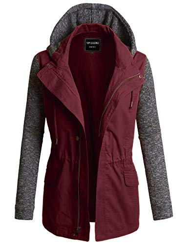 TOP LEGGING TL Women's Versatile Militray Anorak Parka Hoodie Jackets with Drawstring 495_ Wine S