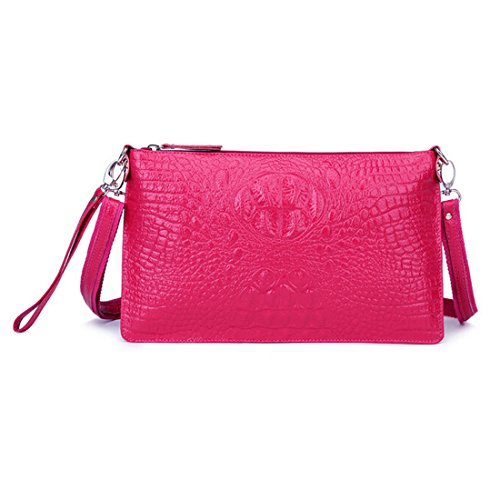 SEALINF Women's Genuine Leather Handbag Clutch Shoulder Bag Alligator Crossbody (rose red)