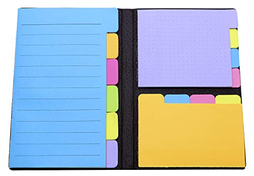 Penta Angel Sticky Notes Bundle 140 Pages Divider Tabs Bookmark Index Cards Self-Stick Lined Note Pad with Color Coding, 60 Ruled Lined Notes (4x6), 40 Dotted Notes (3x4), 40 Blank Notes (2.7x4.2)