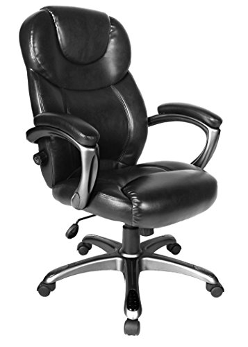 Comfort Products 60-582105 Granton Leather Executive Chair with Adjustable Lumbar Support, Black by Comfort Products