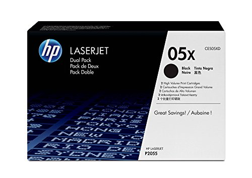 HP 05X (CE505X) Black Toner Cartridge High Yield, 2 Toner Cartridges (CE505XD)