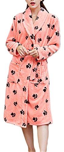 - Women's Super Plush Microfiber Fleece Bathrobe Long Spa Robe Color 4#