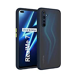 AE Mobile Accessories Back Cover for RealMe 7 Smoke Translucent Shock Proof Smooth Rubberized Matte Hard Back Case Cover (Blue)
