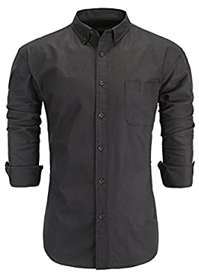 KateSui Men's 100% Cotton Slim Fit Long Sleeve Button-Down Oxford Dress Shirt