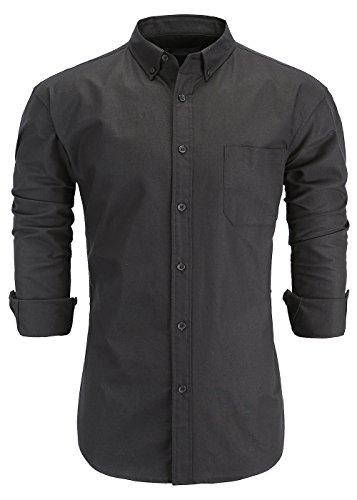 KateSui Mens 100% Cotton Slim Fit Long Sleeve Button-Down Oxford Dress Shirt