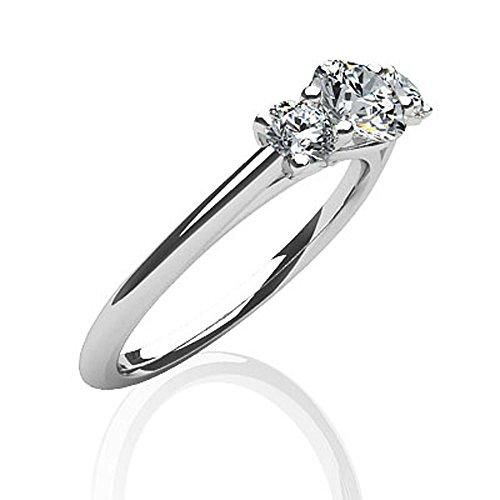 14K Or blanc classique trois pierres diamant Bague