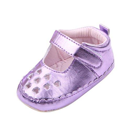 exiu bebé niñas piel sintética suave suela zapatos Prewalker calzado zapatos 0–12M plateado plata Talla:9-12 months/Tag 13 morado