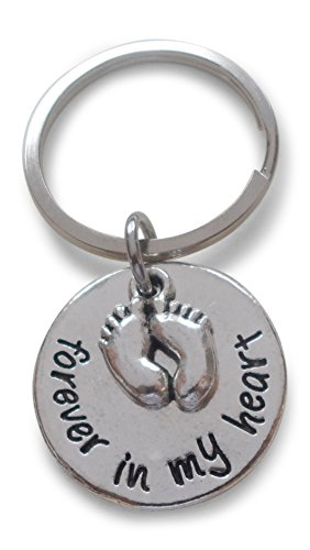Forever in My Heart Keychain with Baby Feet Charm, Baby Memorial Keychain