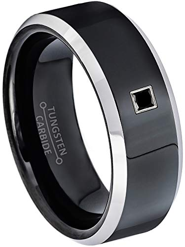 0.05ctw Solitaire Princess Cut Black Diamond Tungsten Ring - 8MM Polished 2-Tone Beveled Edge Tungsten Carbide Wedding Band - April Birthstone Ring - s8 ()