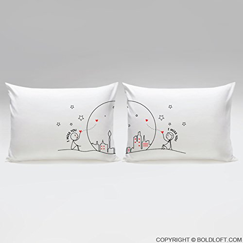 BoldLoft MIss Us Together Couples Pillowcases|Long Distance Relationships Gifts for Girlfriend,Boyfriend|Long Distance Gifts for Couples|LDR Gifts for Him,Her for Couples