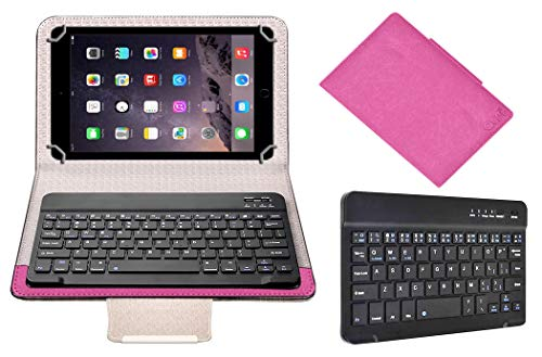 Acm Bluetooth Keyboard Case Compatible with Apple Ipad Air 2 A1567 Tablet Flip Cover Stand Study Gaming Pink