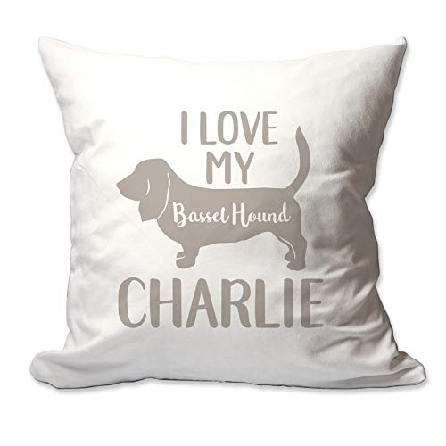 Pattern Pop Personalized I Love My Basset Hound Throw Pillow Cover - 17 X 17 Throw Pillow Cover (NO Insert) - Decorative Throw Pillow Cover - Soft Polyester