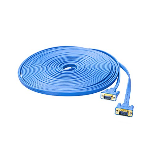 (DTECH 50ft Flat Extra Long VGA Cable for Computer Monitor - Male to Male - Blue)