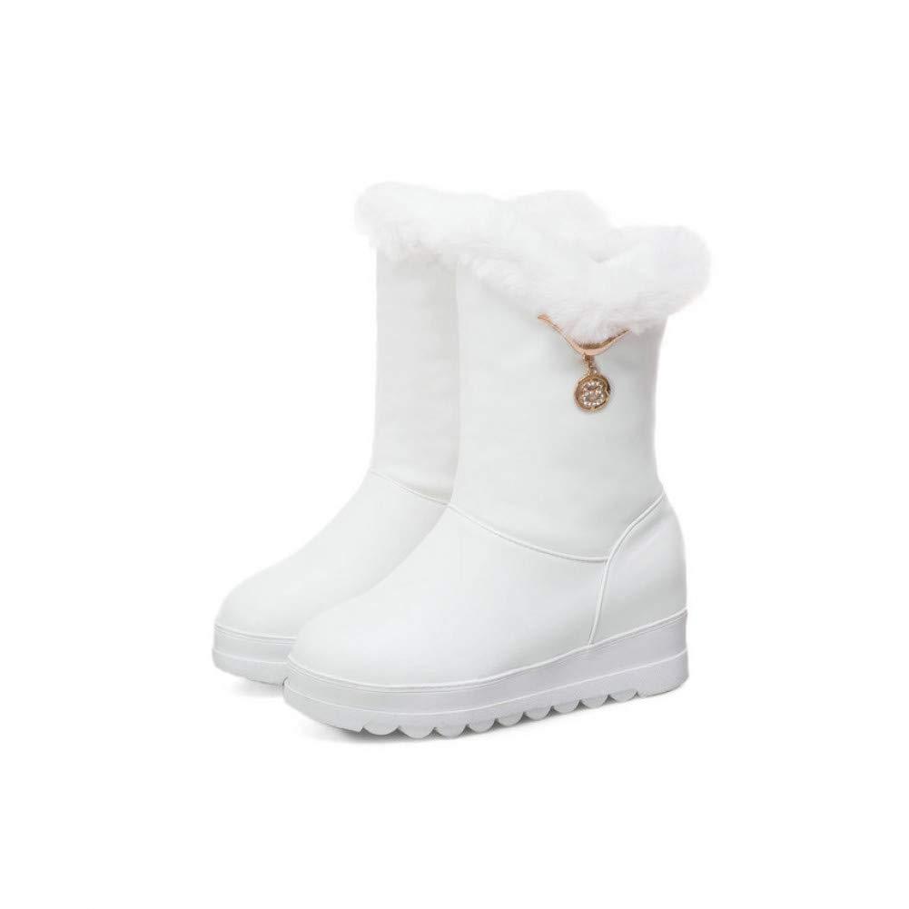 Ai Ya-xuezi Frau Schnee Schuhe Slip On Ankle Stiefel Schuhe Keile High Heels Damen Schuhe Herbst Plattform 3 cm Runder Größe 34-43
