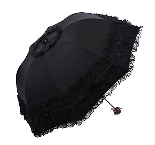 Moschino Umbrella (Priny Beatiful Lace Folding Mini Sun Uv Protection Waterproof Umbrellas Travel Umbrella (black))