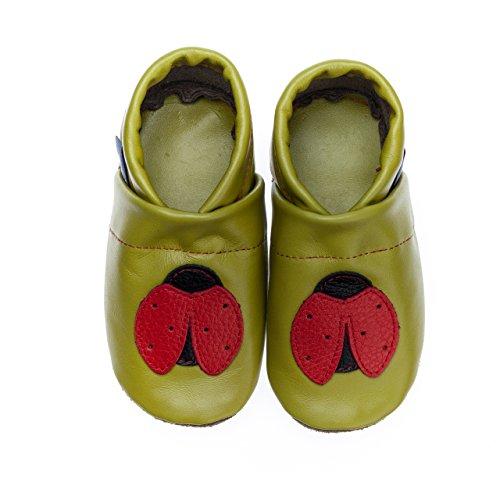 pantau Leder Krabbelschuhe Lederpuschen Babyschuhe Lauflernschuhe mit Marienkäfer, 100% Leder APFELGRUEN_ROT_SCHWARZ