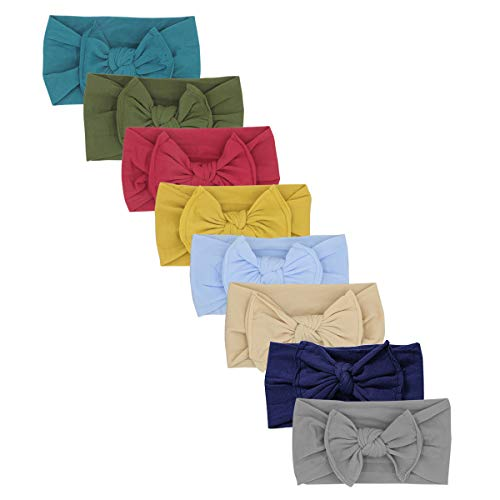 Baby Super Stretchy Nylon Knotted Headbands Baby Headwraps Baby Headbands Bows (Green -AT04) -
