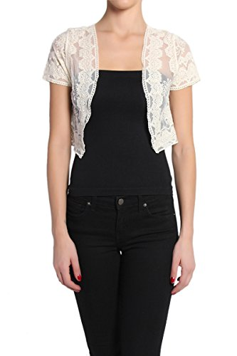 TheMogan Women's Embroidered Lace Bolero Cover Up Jacket - Beige - SM