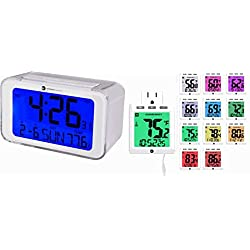 Ambient Weather RC-8320-WS-01 Self Setting Digital Alarm Clock with Radio Controlled Time and Color Changing NIght Light