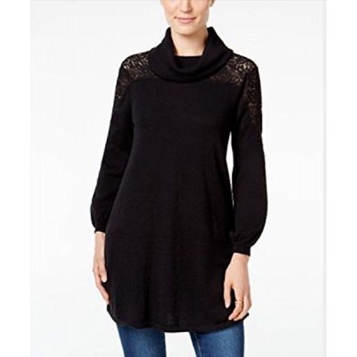 Style & Co. Womens Petites Lace Cowl-Neck Pullover Sweater Black PS
