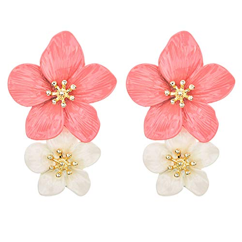 - Spring Summer Metal Hawaiian Tiny Double Plumeria Flower Drop Dangle Earrings