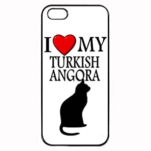 Custom Turkish Angora I Love My Cat Symbol Silohuette iPhone 4 4S Case Cover Hard Shell