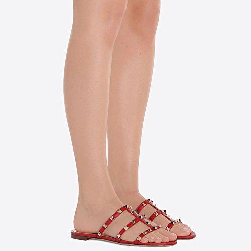 Mules Pour Femme, Slip Sur Rivets Diapositives Rockstud Sandales Backless Robe Pantoufles Rouge