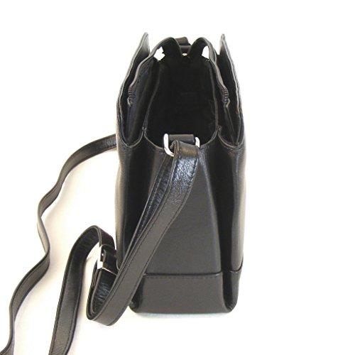 Pavini Damen Tasche Crossovertasche Leder schwarz 9855