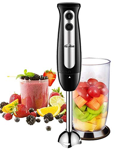 Immersion Blender, Kealive 2-in-1 Hand Blender with 700ml BPA-Free Beaker, 304 Stainless Steel Blades, Ergonomic Handle, 2-Speed Immersion Hand Blender for Baby Food, Juices, Sauces and Soup, 300W (Blender Smoothie Hand)