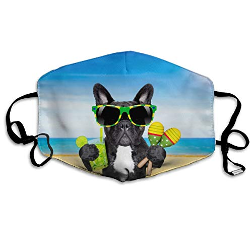 French Bulldog Mouth Mask Unisex Anti-dust Cotton Face Mask for Men and Women White